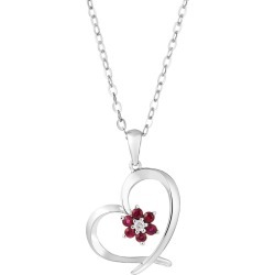 9ct white gold ruby and diamond heart pendant found on Bargain Bro UK from Fraser Hart