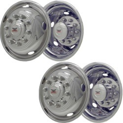"Stainless Steel Wheel Simulators & Covers, 19.5"" 10-lug, Set of 4"