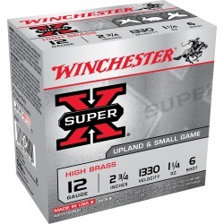 "Winchester Super-X High Brass Ammo, 12-ga, 2-3/4"", 1-1/4 oz, #6"