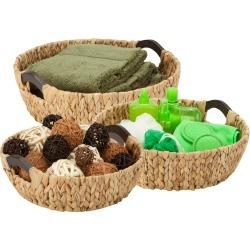 Honey Can Do 3-Piece Round Wood Storage Baskets, Natural