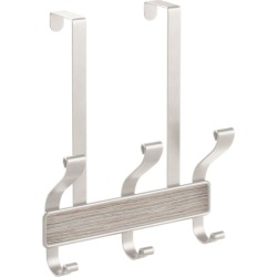 iDesign Over the Door 3 Hook Rack, Gray