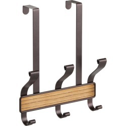 iDesign Over the Door 3 Hook Rack, Bronze