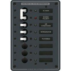 Blue Sea 230V AC Main + 6 Position Circuit Breaker Panel, Model 8127