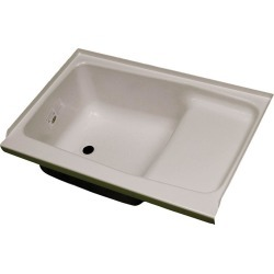 "Replacement ABS Step Tub, 24"" x 36"", Parchment with Left Drain"