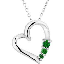 Created Emerald Heart Pendant Necklace in Sterling Silver with Chain