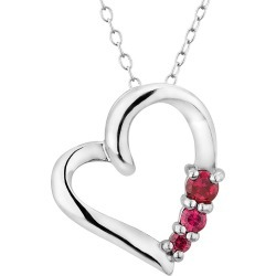 Created Ruby Pendant Necklace in Sterling Silver with Chain