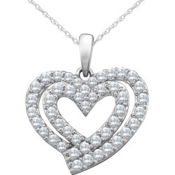 3/4 Carat (ctw Color H-I Clarity I2-I3) Diamond Heart Pendant Necklace in 10K White Gold with Chain found on Bargain Bro India from gem and harmony for $679.00