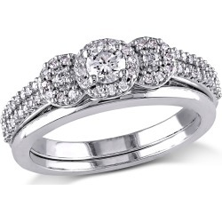 Diamond Engagement Ring and Wedding Band Set 1/2 Carat (ctw Color H-I Clarity I2-I3) in 10K White Gold found on Bargain Bro Philippines from gem and harmony for $795.00