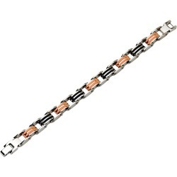 Mens Bracelet in Stainless Steel with Black and Orange Rubber 8.75 Inch found on Bargain Bro India from gem and harmony for $79.95