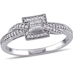 Princess Cut Crossover Diamond Engagement Ring 1/4 Carat (ctw Color G-H, Clarity I1-I2) in 10K White Gold found on Bargain Bro India from gem and harmony for $399.00