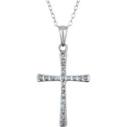 Diamond Cross Pendant Necklace 18 Inches in Sterling Silver with Chain