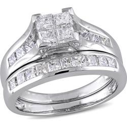 Princess Cut Diamond Engagement Ring & Wedding Band 2.0 Carat (ctw Color H-I Clarity I2-I3) Bridal Wedding Set in 1