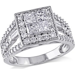 Princess Cut Diamond Halo Engagement Ring 1 1/2 Carat (ctw Color G-H, Clarity I2-I3) in 14K White Gold found on Bargain Bro India from gem and harmony for $1795.00