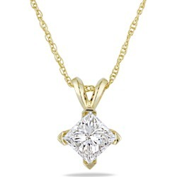Princess Cut Diamond Solitaire Pendant 1.0 Carat (ctw Color I-J Clarity I2-I3) in 14K Yellow Gold with Chain found on Bargain Bro India from gem and harmony for $2795.00