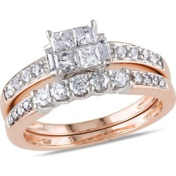 Princess Cut Diamond Engagement Ring & Band Bridal Set 1.0 Carat (ctw Color H-I Clarity I2-I3) 14K White & Pink found on Bargain Bro India from gem and harmony for $1295.00