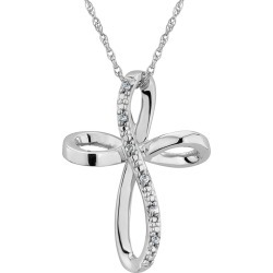 Diamond Cross Pendant Necklace in Sterling Silver found on Bargain Bro Philippines from gem and harmony for $42.95