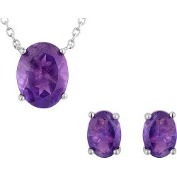 Amethyst Earrings and Pendant Necklace Set 3.85 Carat (ctw) in Sterling Silver