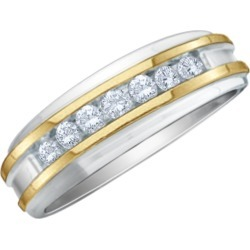 Mens Diamond Wedding Band 1/4 Carat (ctw Color H-I, Clarity I2-I3) in 10K White and Yellow Gold found on Bargain Bro Philippines from gem and harmony for $389.00