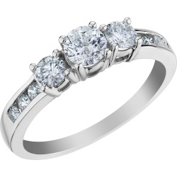 1.0 Carat (ctw H-I, I2-I3) Three Stone Diamond Engagement Ring and Anniversary Ring in 10K White Gold found on Bargain Bro Philippines from gem and harmony for $479.00