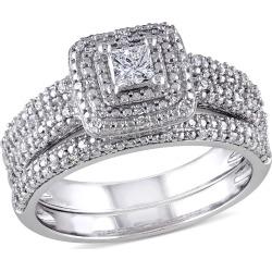 Princess Cut Diamond Engagement Ring & Wedding Band 1/2 Carat (ctw) Bridal Wedding Set in 14K White Gold