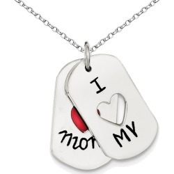 I LOVE MY MOM Dogtag Pendant Necklace ins Sterling Silver