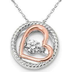 Synthetic Cubic Zirconia (CZ) Two Tone Open Heart Pendant Necklace in Sterling Silver