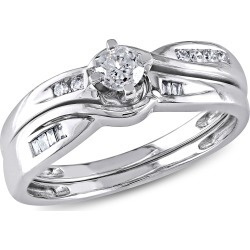 1/3 Carat (ctw Color H-I Clarity I2-I3) Diamond Engagement Ring & Wedding Band Wedding Set in 10K White Gold found on Bargain Bro Philippines from gem and harmony for $649.00