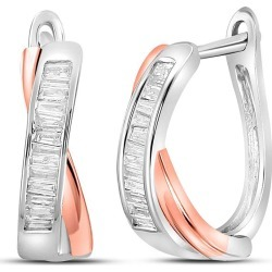 1/3 Carat (ctw) Diamond Crossover Hoop Earrings in 10K White and Pink Gold found on Bargain Bro Philippines from gem and harmony for $479.00