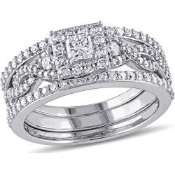 Princess Cut Diamond Engagement Ring & Wedding Band Bridal Wedding Set 1.0 Carat (ctw) in 10K White Gold