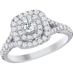 9/10 Carat (Color H-I, Clarity I2-I3) Halo Diamond Engagement Ring in 14K White Gold found on Bargain Bro India from gem and harmony for $695.00