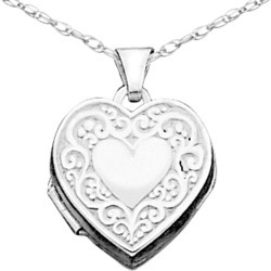 Heart Locket in Sterling Silver with Chain