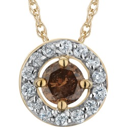 Champagne and White Diamond (Clarity I1-I2, Color H-I) Circle Pendant Necklace 1/2 Carat (ctw) in 10K Yellow Gold with found on Bargain Bro India from gem and harmony for $299.00