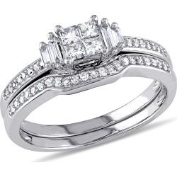 Princess Cut Diamond Engagement Ring & Wedding Band 1/2 Carat (ctw) Wedding Set  in 10K White Gold
