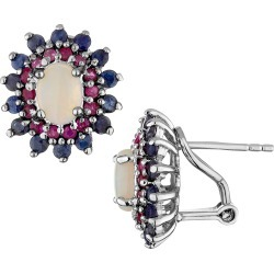 Blue Sapphire, Red Ruby and Created Opal Earrings 2.50 Carats (ctw) in Sterling Silver found on Bargain Bro Philippines from gem and harmony for $69.95