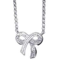 Cubic Zirconia (CZ) (CZ) Bow Pendant Necklace in Sterling Silver