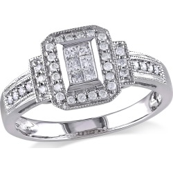 Princess Cut Diamond Engagement Ring 1/3 Carat (ctw Color H-I Clarity I2-I3) in 14K White Gold found on Bargain Bro Philippines from gem and harmony for $669.00