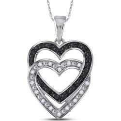 Double Heart Black Diamond Pendant Necklace 1/10 Carat (ctw Color J-K Clarity I2-I3) 10K White Gold found on Bargain Bro India from gem and harmony for $195.00