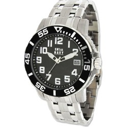 Mens SWI55 Navy Soldier Stainless Steel Black Dial Watch