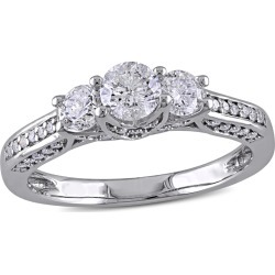 Three Stone Diamond Engagement Ring 1.0 Carat (ctw Color G-H Clarity I2-I3) in 14K White Gold found on Bargain Bro India from gem and harmony for $1395.00