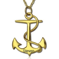 Anchor Necklace Charms Engraved Your Name Gold Plated Silver