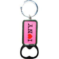 I Love NY Pink Bottle Opener Rectangle Key Ring