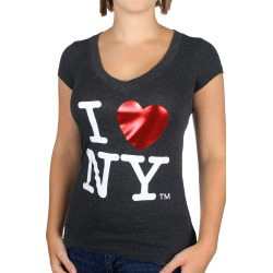 I Love NY Foil V-neck Charcoal Fitted Tee
