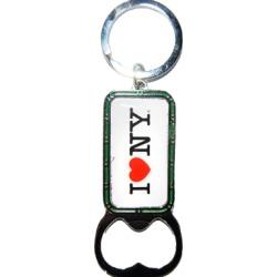 I Love NY White Bottle Opener Rectangle Key Ring