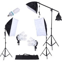 Photography Studio Lighting Kit 3pcs Softbox Tripod Stand 45W 135W Bulb Cantilever with Oxford Bag