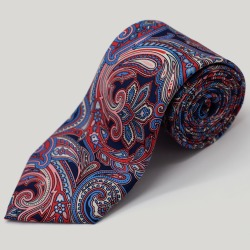 Navy And Pink Large Paisley Printed Silk Tie found on Bargain Bro UK from harvieandhudson.com