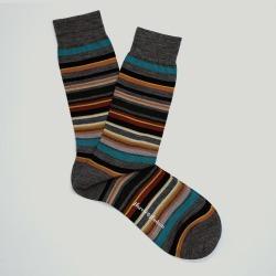 Grey Multi Stripe Wool Sock found on Bargain Bro UK from harvieandhudson.com