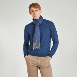 Navy Wool And Cashmere Twill Scarf found on Bargain Bro UK from harvieandhudson.com