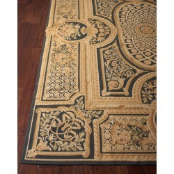 Aubusson Hand-Knotted Ebony Rug, 9.9' x 13.9' found on Bargain Bro India from horchow.com for $16349.00