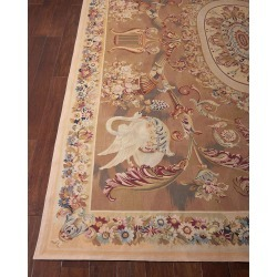 Aubusson Hand-Knotted Burnished Gold Rug, 8.1' x 12.3' found on Bargain Bro India from horchow.com for $13329.00
