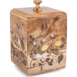 Mango Wood Laser Metal Inlay Leaf Large Canister found on Bargain Bro India from horchow.com for $110.00